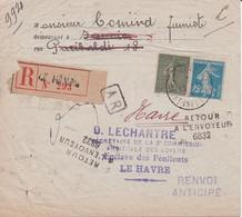 LRAR Du Havre Pour Sanvic Commission Arbitrale Des Loyers  Non Réclamé Retour à Envoyeur Avec Renvoi Anticipé 1920 - 1877-1920: Periodo Semi Moderno