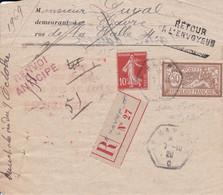LRAR Commission Arbitrale Des Loyers Non Réclamé Oblitération Le Havre C  C 1920 Indice 10 Cote 70€ - 1877-1920: Periodo Semi Moderno