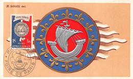 FOIRE DE PARIS  - Belle Carte Gauffrée - R LOUIS - Navtae Parisiaci ( Foire De PARIS 1955 ) - 1921-1960: Moderne