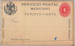 52235 - MEXICO - POSTAL  HISTORY - STATIONERY  - H & G #5 Heavy Card  PERFORATION ERROR - Mexiko