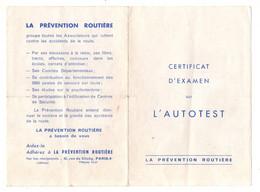 DépliantCertificat D'examen Sur L'autotest La Prévention Routière- Format : 16x11cm Soit 6 Pages - Cars