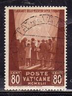 VATICANO VATICAN VATIKAN 1942 OPERE DI CARITÀ DI PAPA PIO XII PRO PRIGIONIERI CENT. 80c USATO USED OBLITERE - Usados