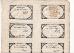 PLANCHE DE 10 ASSIGNATS DE 5 LIVRES , 10 BRUMAIRE DE L'AN II ( Traces Au Dos ) - Assignats