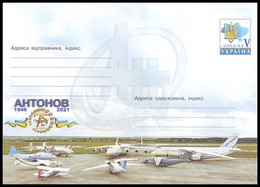 UKRAINE 2021. 75th ANNIVERSARY OF ANTONOV DESIGN BUREAU. Postal Stationery Stamped Cover (**) - Aviones