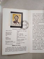 ABRAHAM LINCOLN (1965) CANCELLED BROCHURE CANCELLED BROCHURE WITH STAMP (**) Inde Indien - Storia Postale