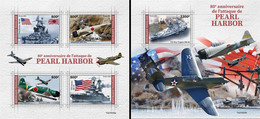 Togo 2021, WWII, Pearl Harbour, 4val In BF +BF - Aviones
