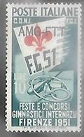 Italy/Trieste  1951  Sc#116  10L Gymnastics Festival  MLH  2016 Scott Value $11 - Mint/hinged