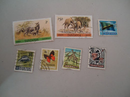 TANZANIA  USED STAMPS LOT   BUTTERFLIES ANIAMAL FISHES - Mariposas