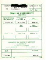 """Page De Prime De Productivité De 1966  """"Houillères Du Bassin Lorraine """" Merlebach - 1950 - ..."""