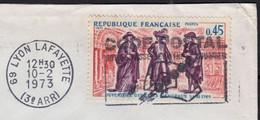 Etats Généraux 45c Y.T.1678 SEUL Sur Enveloppe  De 69 LYON Lafayette 3ème  Le 10 2 1973  Pour 80270 AIRAINES - 1961-....