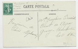 FRANCE SEMEUSE 5C SURCHARGE T DE TAXE SUR CARTE + RECTO 5C  VERSO PARIS 2.1.1917 TARIF DU 1.1.1917 - 1906-38 Semeuse Con Cameo