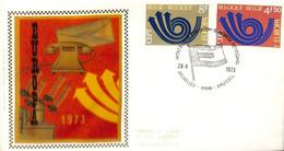 D - [910584]TB//-c:4e-Belgique 1973 - N° 1669/70, BRUXELLEs - 1000 - BRUSSEL,  FDC Soie Rouge, Europa-Cept - 1971-80