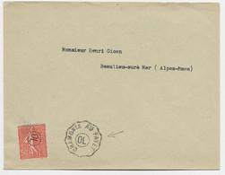 FRANCE SEMEUSE 50C OBL OL POINTILLE + CONVOYEUR SANS DATEUR CHAMONIX AU FAYET LETTRE + BEAULIEU 1931 SUPERBE - Spoorwegpost