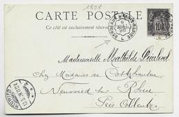 FRANCE SAGE 10C CARTE A NUAGE AMBULANT BORDEAUX A PARIS RAPIDE 9 MAI 1898 L POUR ALLEMAGNE - Spoorwegpost