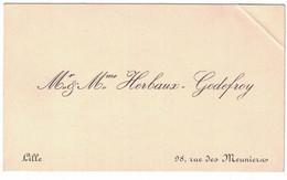 Mr & Mme HERBAUX-GODEFROY 98 RUE DES MEUNIERS LILLE - Tarjetas De Visita