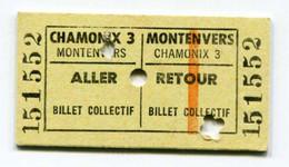 """Beau Ticket Du Chemin De Fer Du Montenvers Edmondson """"Chamonix 3 / Montenvers - Aller Et Retour"""" Billet Train - SNCF - Europa"""