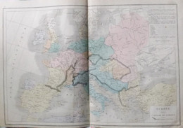 Rare Double Carte De L'EUROPE POUR L'INVASION DES BARBARES Par Drioux & Leroy.  Vers 1872. - Geographical Maps