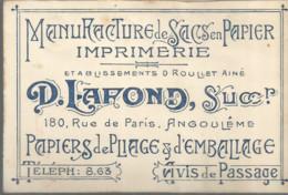 F152 / CDV Carte Publicitaire De Visite PUB Advertising Card / Manufacture SACS PAPIER LAFOND ANGOULEME Papier Emballage - Angouleme