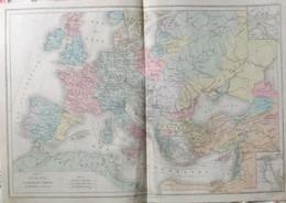 Rare Double Carte De L'EUROPE A L'EPOQUE DES CROISADES (1095-1270) Par Drioux & Leroy.  Vers 1872. - Geographical Maps