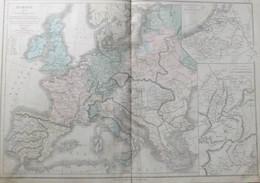 Rare Double Carte De L'EUROPE En 1715 Par Drioux & Leroy.  Vers 1872. - Geographical Maps
