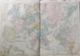 Rare Double Carte Des 1715-1789 EUROPE. Par Drioux & Leroy.  Vers 1872. - Geographical Maps