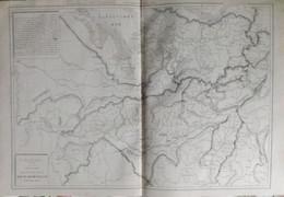 Rare Double Carte Physique De L'ALLEMAGNE DU SUD Et De L ' ITALIE DU NORD. Par Drioux & Leroy.  Vers 1872. - Geographical Maps