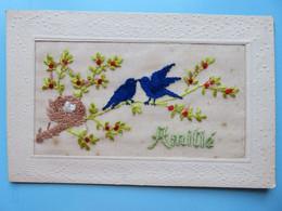 412 - C.P.A Brodée Fantaisie - Oiseaux Sur Branche Fleuris Avec Nid - Amitié - Embroidered