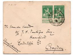 N 814Kleine Brief Vab Le Havre Naar Craydon (GB) 1/2/1915 - 1912 Pellens