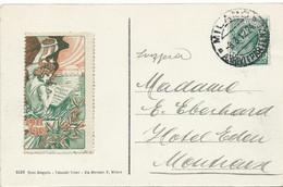 CARTE POSTALE POUR LA SUISSE 1912 AVEC VIGNETTE - Marcophilie