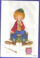 Carte Postale Brodée  Cirque Clown Par Illustrateur Coni   Très Beau Plan - Embroidered