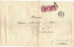 ⭐ France - YT N° 24 B - Tête Bêche Encadrée Sur Lettre Entière - RARE - Côte 42500e - 1863 ⭐ - 1849-1876: Classic Period