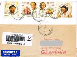 Rumänien - Gelaufener Brief Einschreiben Mit Streifen 5974-77B - Kolumbus, Entdeckung Amerika - Gestempelt In Cluj - Brieven En Documenten