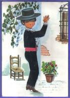 Carte Postale Brodée  Danseur De Flamenco   Illustrateur Moreno  Très Beau Plan - Embroidered