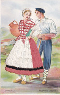 CPA  BRODEE COUPLE DU PAYS BASQUE/GUIPUZCOA (ANA12) - Embroidered