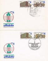 DDR 2 FDC Leipziger Messe 1987 - Ganzsachen Mit Versch. Erstagsstempel - Kran, Schloß, Messehalle, Geschichte - Umschläge - Gebraucht