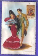 Carte Postale Brodée  Andalucia Torero  Danseuse De Flamenco   Illustrateur M.N.G  Très Beau Plan - Embroidered