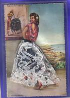 Carte Postale Brodée Et  Dentelle Malaga  Torero  Danseuse De Flamenco   Illustrateur Balonga Cassar  Très Beau Plan - Embroidered