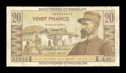 San Pedro Y Miquelón Saint Pierre Et Miquelon 20 Francs 1950-1960 Pick 24 BC F - Other