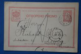 AB9 BULGARIA  BELLE CARTE 1896  VIDIN  POUR LEIPZIG GERMANY ++ AFFRANCH.PLAISANT - Covers & Documents