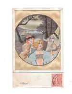 CPA Fantaisie, Carte Sur Soie, Femmes Art Nouveau, VENTE NON RENOUVELEE - Embroidered