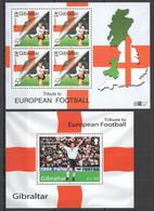 PM135 2000,2004 GIBRALTAR SPORT FOOTBALL TRIBUTE TO EUROPEAN FOOTBALL 2000 1BL+1KB MNH - Championnat D'Europe (UEFA)