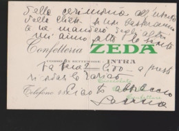 Intra Confetteria Zeda Biglitto Da Visita  1940 Circa. - Tarjetas De Visita