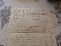 13/9. 20 - Facture ,Entreprise Générale De Peintures Et Vitrerie X.BOURNIQUEL Et J.VILLE Rue Marrens, MIRANDE Gers, 1915 - Artigianato