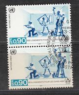 NACIONES UNIDAS 1987 - SEDE DE GINEBRA - VIVIENDAS PARA NECESITADOS - YVERT Nº 152 USADO DE FAVOR X2 - Gebraucht