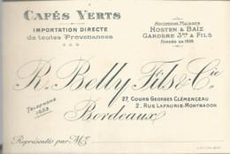 F152 / CDV Carte Publicitaire De Visite PUB Advertising Card / Cafés VERTS BELLY  Et Fils BORDEAUX   Café - Tarjetas De Visita