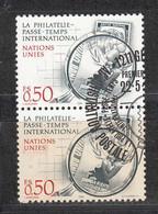 NACIONES UNIDAS 1986 - SEDE DE GINEBRA - LA FILATELIA - YVERT Nº 143 USADO DE FAVOR X2 - Gebraucht