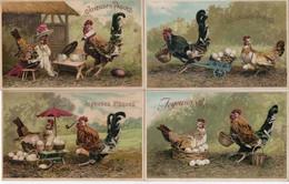 """Série N° 371, 6 Cartes Poules Habillés """" Joyeuses Pâques"""" - Dressed Animals"""