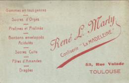 F152 / CDV Carte Publicitaire De Visite PUB Advertising Card / René L.MARTY Confiserie LA MADELEINE TOULOUSE Praline - Tarjetas De Visita