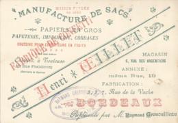 F152 / CDV Carte Publicitaire De Visite PUB Advertising Card / MANUFACTURE DE SACS OEILLET BORDEAUX  Papier Cordages - Tarjetas De Visita
