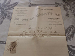 13/9. 25 - Facture, Entreprises De Caveaux Et Chapelles Funéraires, Mariuss Débats , Rue Laplagne, Mirande, Gers, 1909 - Artigianato